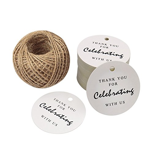 - White Paper Gift Tags,Thank You for Celebrating with Us,100 Pcs Kraft Tags for Wedding Party Favors,Baby Shower Tags,Christmas Gifts with 100 Feet Natural Jute Twine