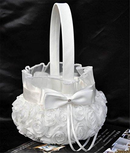 Lingstar Pure White Romantic Rosette Wedding Flower Basket Flower Girl Basket Easter Party