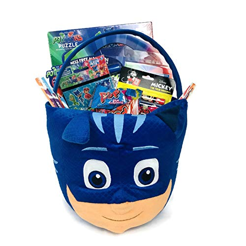 It's A Party PJ Mask Gift Basket Set! Coloring Book Puzzle Candy Stickers Tattoos 20 Pieces Easter Halloween Birthday Christmas Holiday Gift! For Your Little Hero!]()