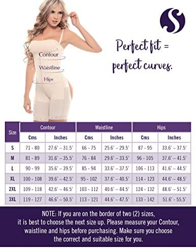 Siluet 1009 Fajas Colombianas Mid-Thigh Body Shaper | Compression Garments Derriere Bodysuit Shapewear