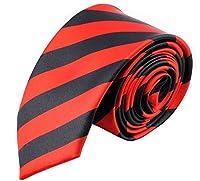 Secdtie Men's Classic Striped Skinny Woven Microfiber Tie Necktie - 10 Colors