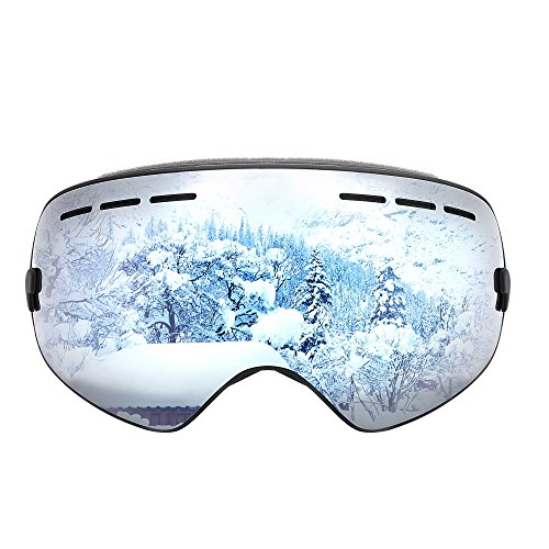 Benice Winter Outdoor Ski Goggles Snow Sports Snowboard Goggles with Anti-fog 100% UV Protection for Youth Adult Skiing Skating,Scratch-Proof and Superior Protective(Gold,Blue,Black,Silver)
