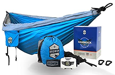 Browon Lightweight Double Camping Hammock Includes 120 Lumen Backpacking Headlamp and Tree Straps Carabiners Stuff Sack