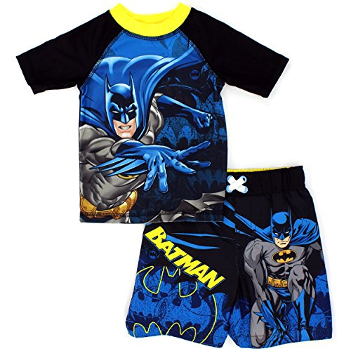 DC Comics Marvel Nickelodeon Rash Guard and Trunks Swimwear Set (3T, Batman Black)