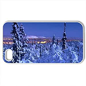 Beautiful winter landscape - Case Cover for iPhone 4 and 4s (Winter Series, Watercolor style, White)