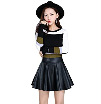 42c4555dc Amazon.com: XSQR Women's Clothing Spring and Autumn Sexy PU Leather ...