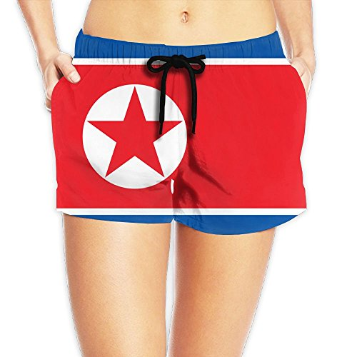 Flag Of North Korea Women Fashion Sexy Quick Dry Lightweight Hot Pants Waist Beach Shorts Swimming Trunks