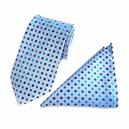 2 Piece Polka Dots Tie (MENDENG Men's Blue Polka Dots Necktie Party Tie Handkerchief Hanky 2 Pieces Sets)