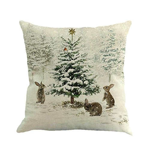 Xmas Throw Pillow Covers, Keepfit Merry Christmas Home Decor Pillow Case Holiday Season Decorations for Couch, Chair, Sofa, Assorted Designs (Xmas Tree) (2017 Thanksgiving Decorations)