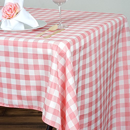 """BalsaCircle 60x126"""" Gingham Checkered Polyester Tablecloth - Rose Quartz Pink and White"""