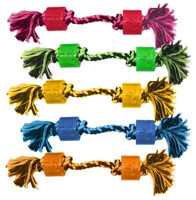 Multipet Two Wheel with Inside Rope Knot Dog Toy, 10-Inch