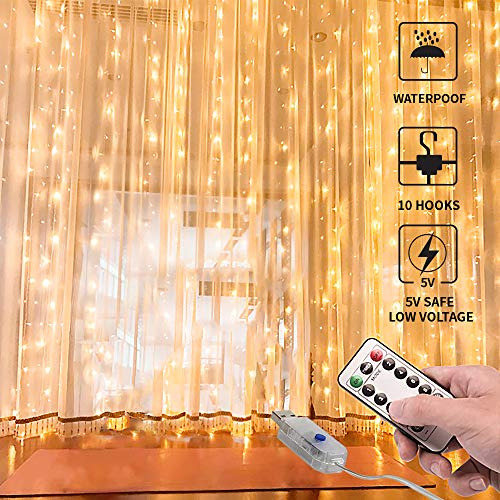 Curtain Lights,USB Powered Fairy Lights String,(300 LED 9.8Ftx9.8Ft) IP64 Waterproof Twinkle Lights for Bedroom,Wedding,Christmas Wall Decorations,Warm White