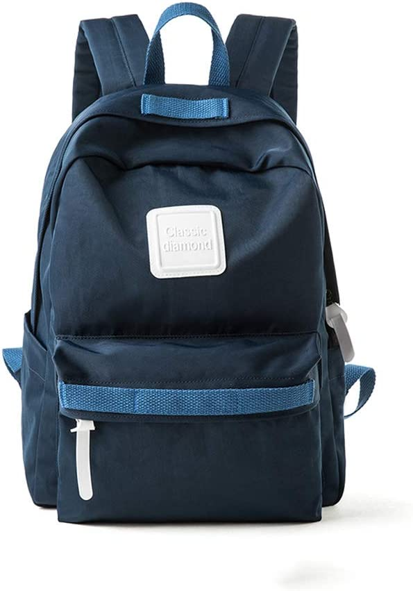 HLJ Simple Campus Backpack Fashion Girls Bag Small Fresh Personality Leisure Travel Backpack Color : Dark Blue