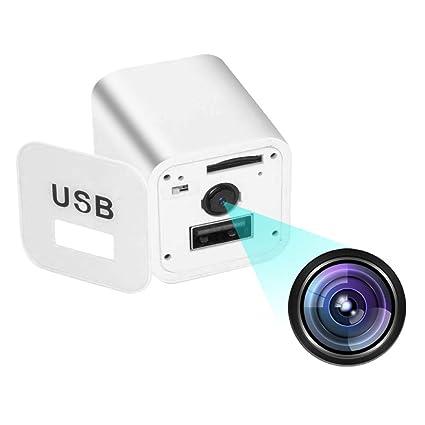 Cámara espía cámara Oculta USB Blanco 1080P, cámara niñera con Monitor de bebé función de