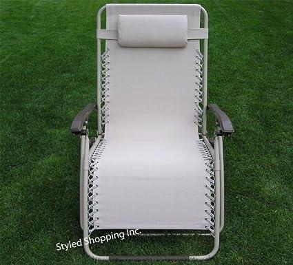Beau Extra Wide Oversized Beige Folding Zero Gravity Chair Recliner