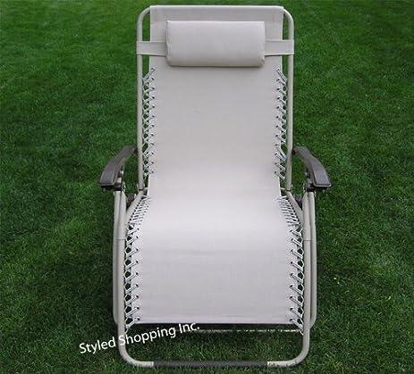 Extra Wide Oversized Beige Folding Zero Gravity Chair Recliner