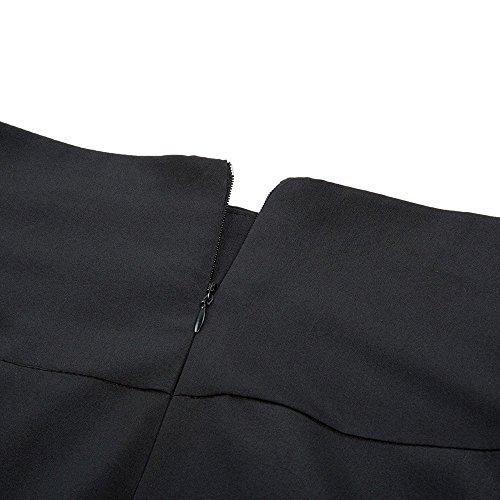 Maxi Poche Belted Avant Tutu Taille Jupe Pliss Femme Haute Simple Casual Rtro Deux avec Vintage Classique Bureau Noir Cocktail Poches Ceinture Longue Party lgante Uni Stretch Fendue xUTBq0q