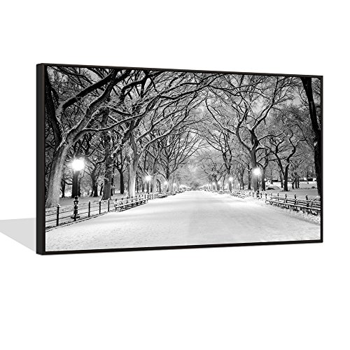 Sea Charm - Winter Canvas Wall Art 24x36,New York City Central Park Snow Landscape Paintings Picture Print on Canvas for Living Room Decoration,Black Floater Frame Wall Art Ready to Hang