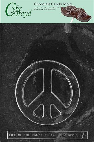 Cybrtrayd M137 Peace Sign Chocolate Candy Mold with Exclusive Cybrtrayd Copyrighted Chocolate Molding Instructions ()