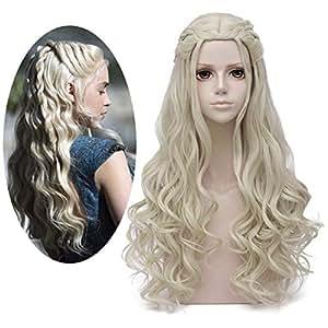 Mersi Daenerys Targaryen Wig Khaleesi Cosplay Wigs Long Blonde Braided Party Hair Wigs For Halloween Blonde S039g