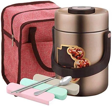 食品サーモス・真空断熱ステンレスランチボックスランチバッグとハンドル漏れ防止真空断熱スープフラスコ (Size : 2.0L)