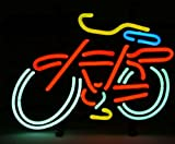 Cozyle Glass Bright Neon Light Bike Neon Sign 17''x14'' Real for Mancave Beer Bar Pub Garage Room