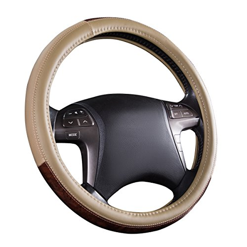 NEW ARRIVAL- CAR PASS Wood Grain Universal Leather Steering Wheel Cover fit for trucks,suvs,vans,sedans(Beige) Woodgrain Steering Wheel