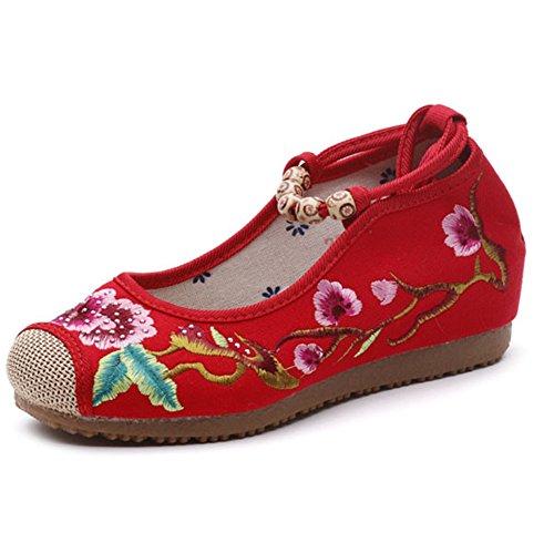 De Cordones Mujeres De Correas Suelas Lona Zapatos Bordadas Blandas Pisos Con Alpargatas Cuentas Red MSFS qX1wxZRtpw