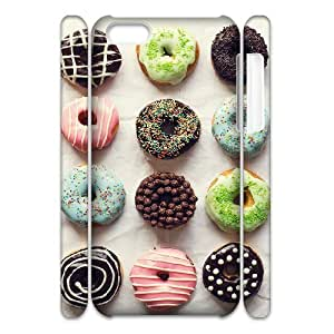 3D Jumphigh Mixed Donut Pattern IPhone 5C Cases Girls Protective Beautiful Mixed Donut Pattern, Mixed Donut Pattern Iphone 5c Cases for Guys [White]