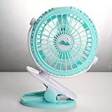Superbsail Small Fan with Clip, Clip Desk Personal Fan, Mini Portable Electric Cooling Fan (Green)