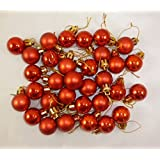 32 x 25mm Mini Christmas Baubles - RED - Christmas Tree Decorations