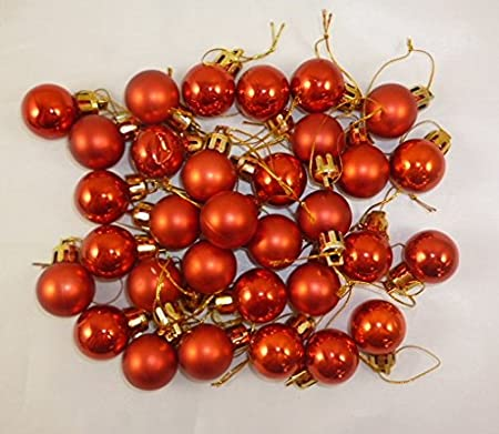 32 x 25mm mini christmas baubles red christmas tree decorations