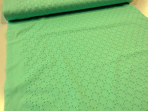 サマーウェア向きアイレットレース ダイヤ柄 エメラルド |服地|生地|布地|ボレロ|カーデ|シャツ|ワンピース|チュニック|