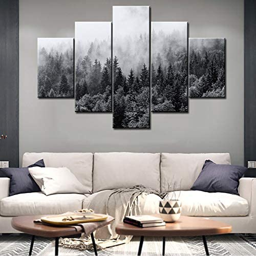 Wall Art Decor Large 5 Piece Black and White Sunshine Foggy Forest Landscape Canvas Prints Trees Wall Decoration Framed and Stretched Painiting for Living Room Office Artwork Ready to Hang 60 W x 40 H