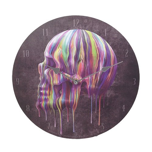 [Dripping Skull Halloween Scary Wall Clock Home Decor] (Halloween Decor For Home)