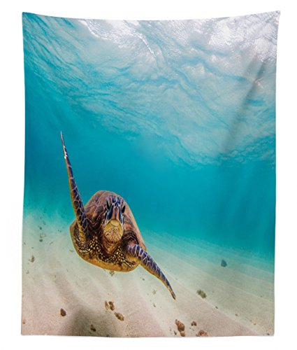 (Lunarable Hawaiian Tapestry Twin Size, Underwater Scuba Diving Sea Turtle Nature Animal Swimming Wildlife Theme, Wall Hanging Bedspread Bed Cover Wall Decor, 68 W X 88 L inches, Blue Beige)