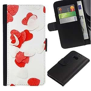 All Phone Most Case / Oferta Especial Cáscara Funda de cuero Monedero Cubierta de proteccion Caso / Wallet Case for HTC One M8 // Love Flowers Heart