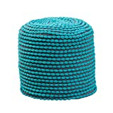 Great Deal Furniture Collier Outdoor Pouf | Turquoise Fabric | Round | Footrest for Patio Set