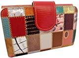 Luxury Leather Multi Colored Soft Leather Ladies Wallet & Purse, Handmade in Spain, Red Patchwork