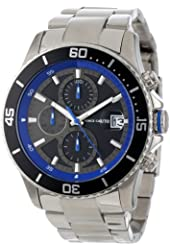 Vince Camuto Men's VC/1017BLU The Cavalier Black Chronograph Dial  Blue Accents Silver-Tone Watch