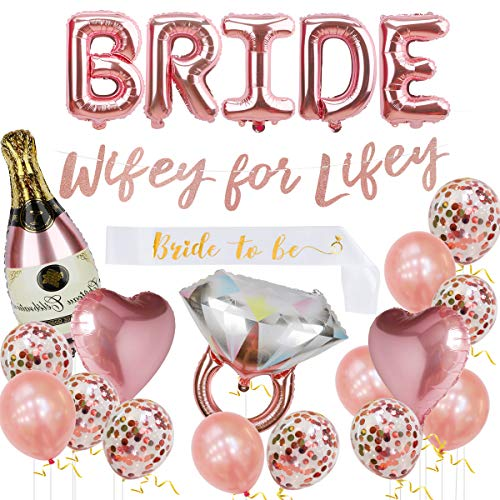 Bachelorette Party Decorations Kit, Bridal Shower Supplies - Bride Balloon, Bride to Be Sash, Ring Foil, Champagne Foil, Heart Balloon, Rose Gold Balloon, Glitter Banner | Wifey for Lifey (Shower Wifey)