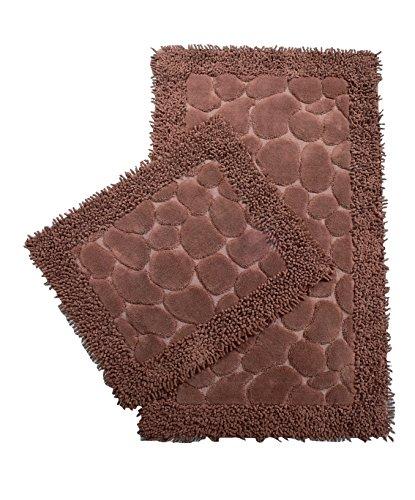 Chiara Rose Cotton 2 Piece Bath Rug Set Extra Large Absorbent Quick Dry Bathroom Toilet Mat Brown ()