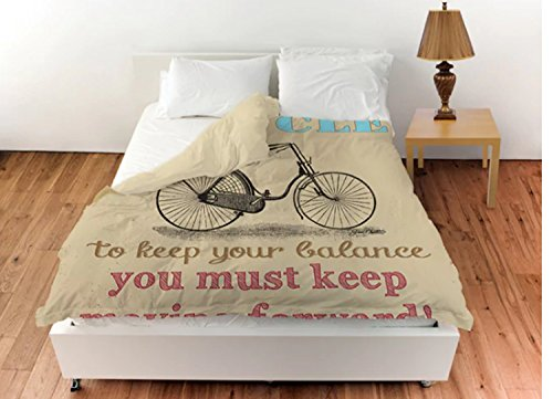 1 Piece Woven Bicycle Printed Design Duvet Cover King Size,