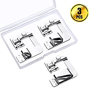 WXJ13 3 Size Rolled Hem Presser Foot Sewing Machine Presser Foot Sewing Foot Sets Fit for Most Low Shank Sewing Machines, 3 Pieces(1 Inch, 3/4 Inch, 1/2 Inch) from WXJ13
