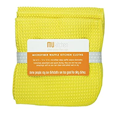 MUkitchen Microfiber Waffle Dishcloth, 12 by 12-Inches, Set of 3, Lemon