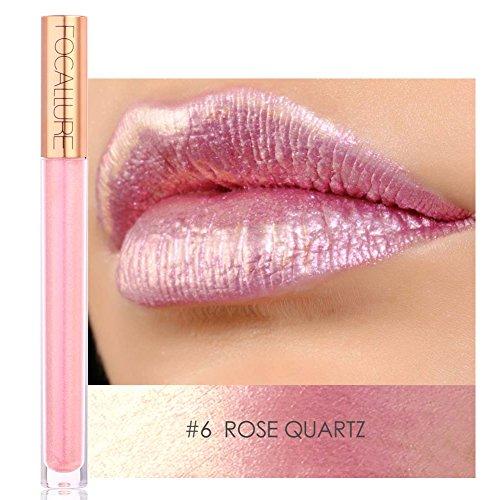 FOCALLURE Heavy Metallic Liquid Lipstick Metal Lip Gloss Waterproof Matte Lipstick 12 Colors(#6)
