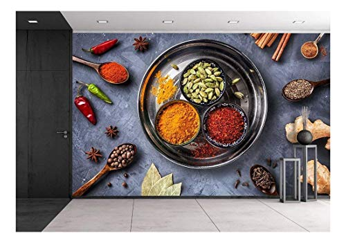 - wall26 - Various Spices Like Turmeric, Cardamom, Chili, Bayberry, Bay Leaf, Paprika, Ginger - Removable Wall Mural | Self-Adhesive Large Wallpaper - 100x144 inches