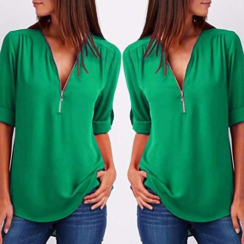 Haut L Longues Femme Manches Tops Xinantime Shirt T Chemise Blouse nbsp; Mode che Femmes Vert Casual qC5fOv8Cn