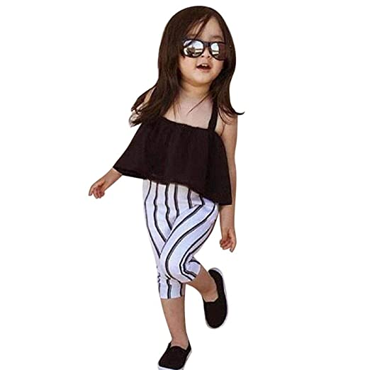 64fa337491eb10 Amazon.com  RAINED-Toddler Baby Girl Off Shoulder Crop Top Ruffle Shirt +  Stripe Pants Outfit Set 2PC Set Outfit  Clothing