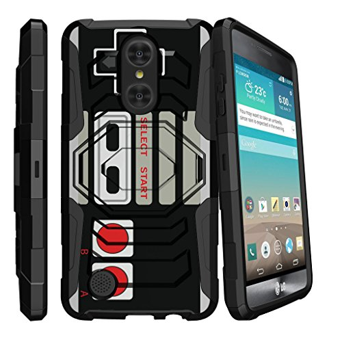 MINITURTLE Case Compatible w/ LG Aristo | LG Phoenix 3 Case | LG Fortune Holster Case | Case Cover [Clip Armor][Bonus Holster][Stand Case] Hybrid Layers Hard Shell Impact Case Game Controller Retro by MINITURTLE